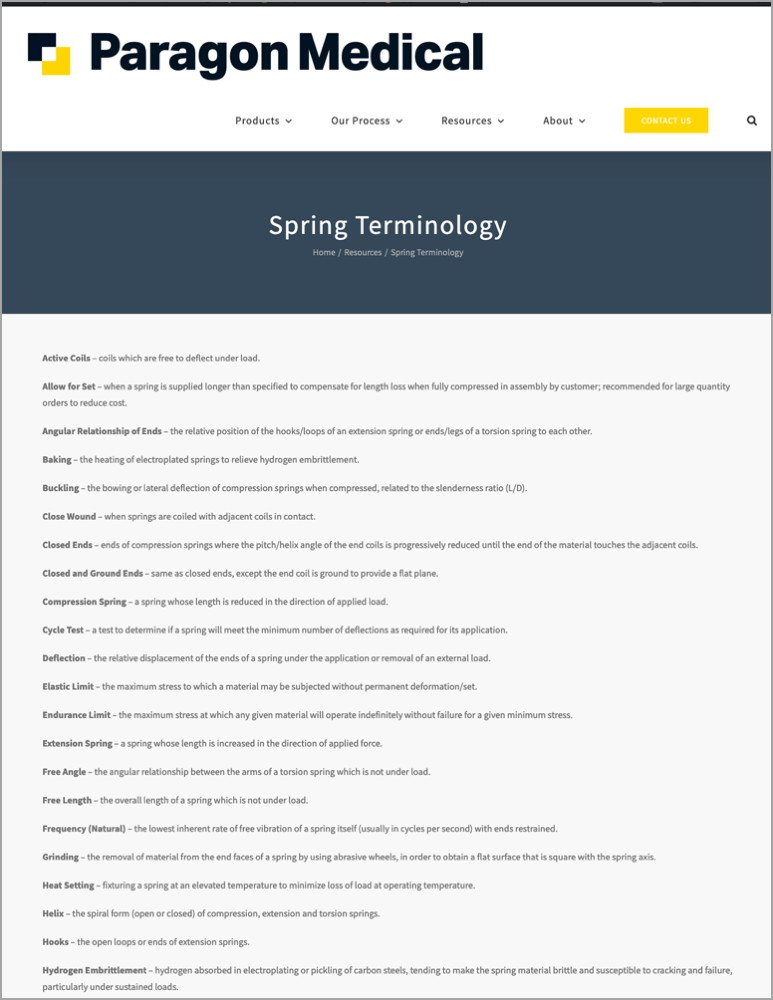 Spring terminology resource
